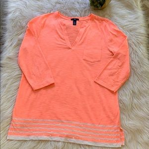 Bright Peach Gap Tunic with sequin details at hem